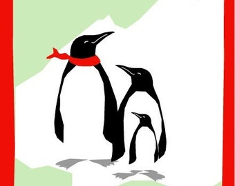 greeting card save the ice penguins