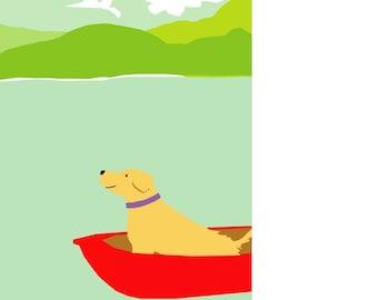 Yellow lab original art print in mat retriever in rowboat