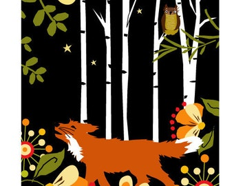 print fox in the woods at night 7 x 10 inch art in 11 x 14 inch mat