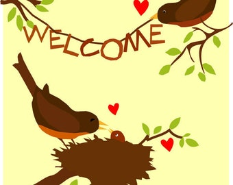 Welcome new baby bird print robins and nest 8 x 10 inch premium matte paper