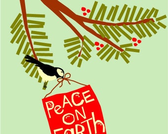 greeting cards peace on earth chickadee on pine branch note cards