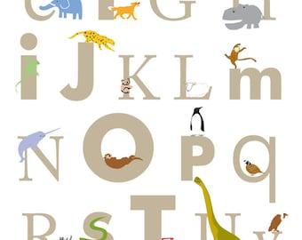 Alphabet Poster print size 13 x 19 inch  Nursery wall decor