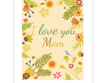 Mother's Day Card I love you Mom