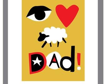 fathers day card rebus eye heart ewe greeting