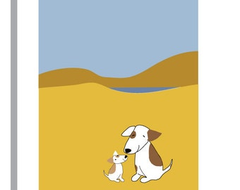 sweet dog and puppy greeting card in yellow field