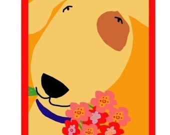 Dog with bouquet greeting card collection