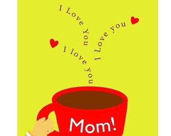Valentine greeting card I love you mom notecard