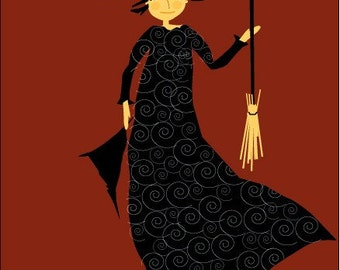 greeting card moon witch halloween card