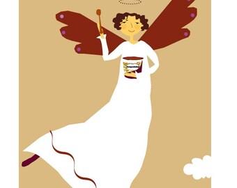 Greeting card Angel Joy of chocolate ice cream card
