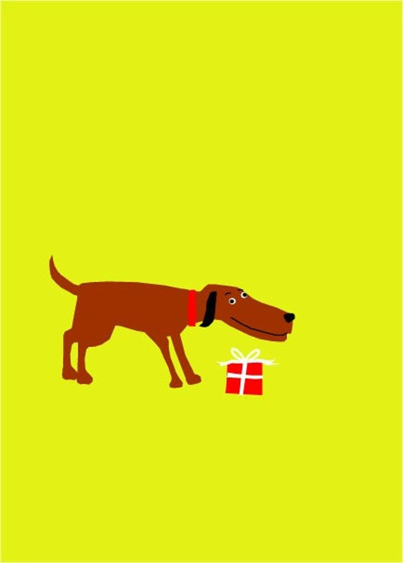 greeting cards funny brown dog with gift note card collection