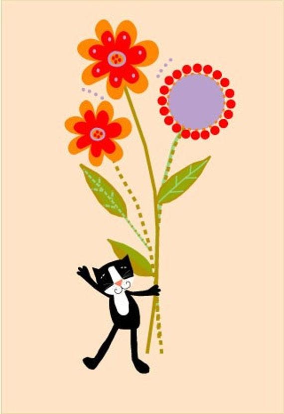 Art Print Sweet Black Kitty With Flowers 8 X 10 Print 11 X 14