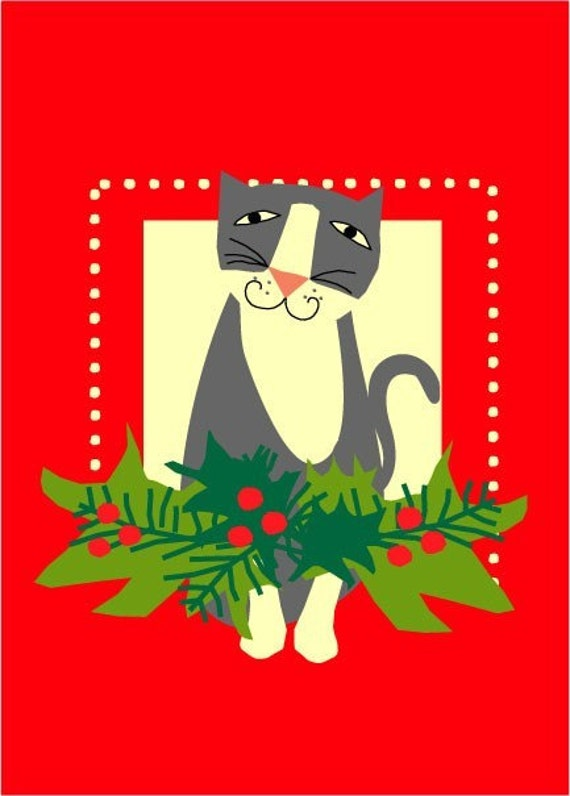 christmas card collection grey kitty with holly