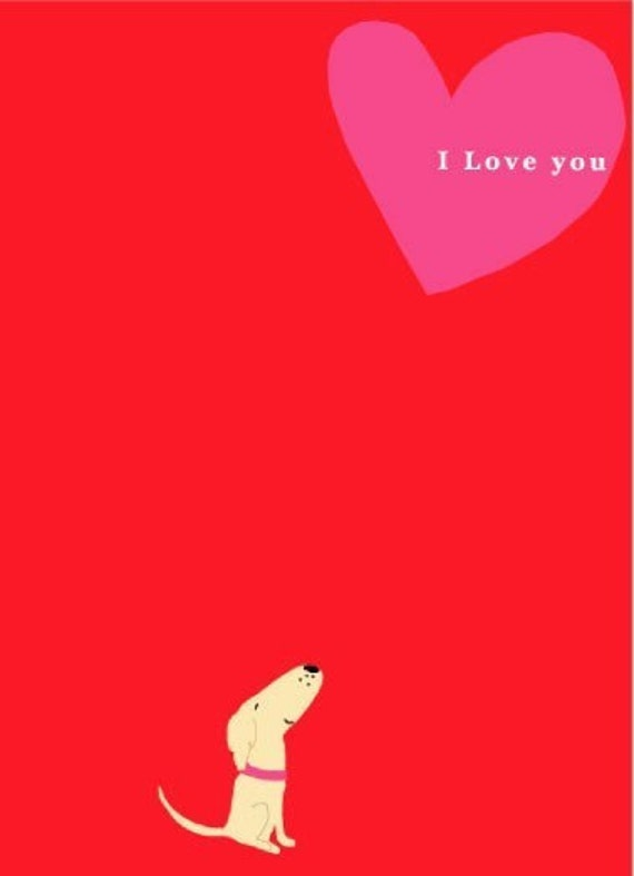 valentine greeting cards very small dog i love you