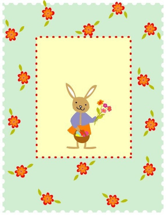 greeting card cute little bunny easter spring