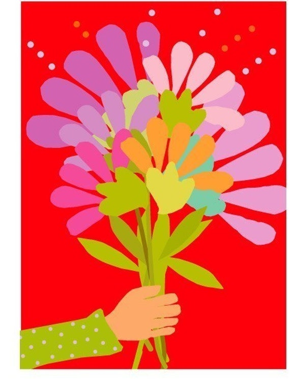 greeting card bright red bouquet