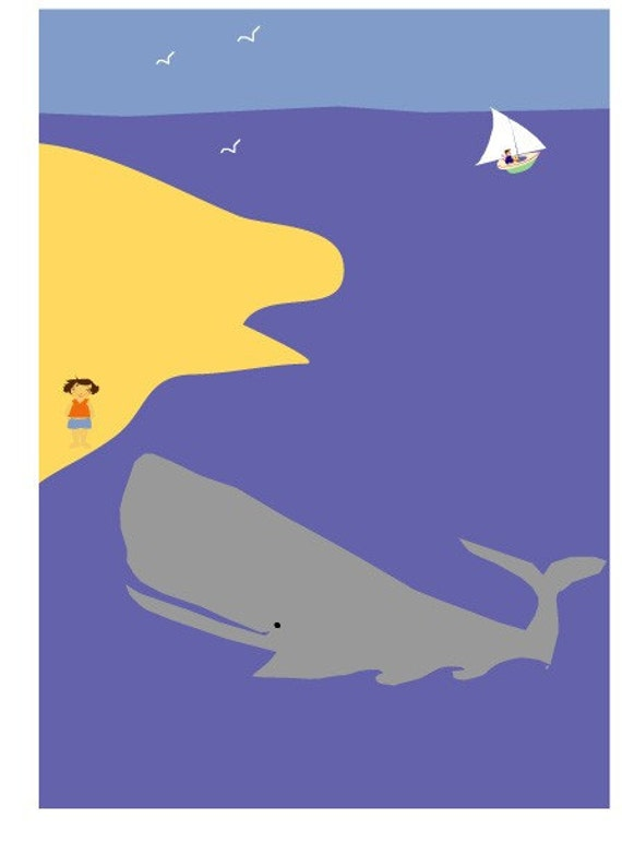 sweet nursery print matted emma and the whale children decor