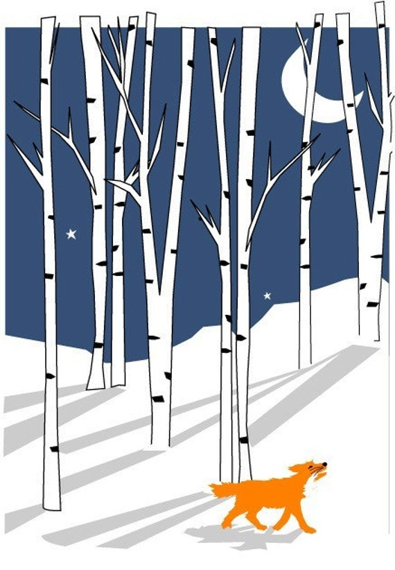 greeting cards winter fox in white birches note cards