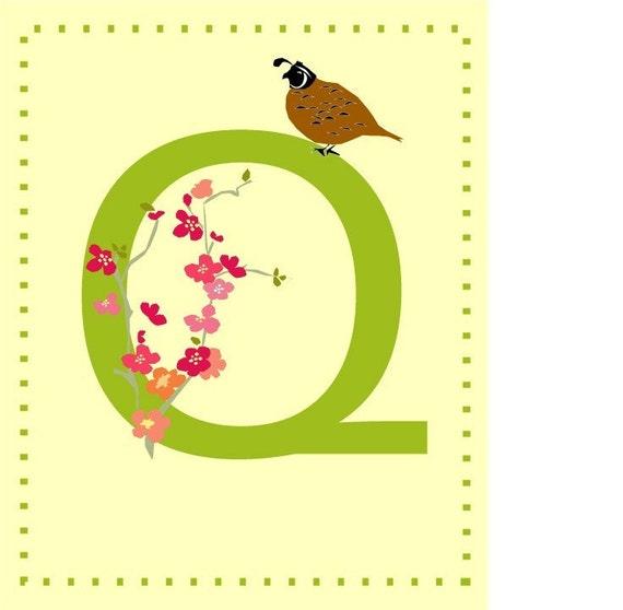 Alphabet Print Letter Q nursery print