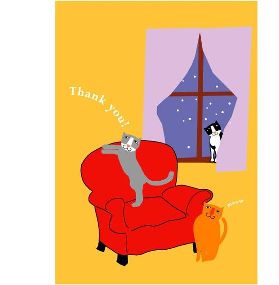 Cute Cats in yellow room Thank you cards cats note cards