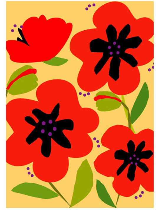 greeting cards red poppies notes collection