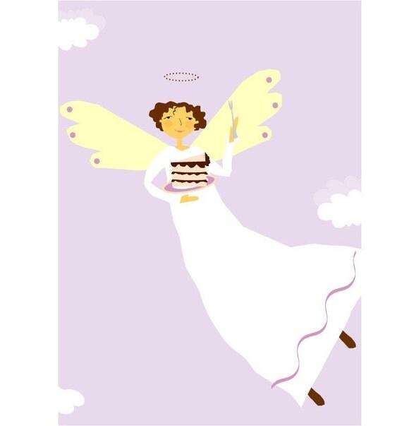 Angel joy of chocolate cake  greeting card