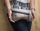 Silver Leather Clutch w/ Tassel