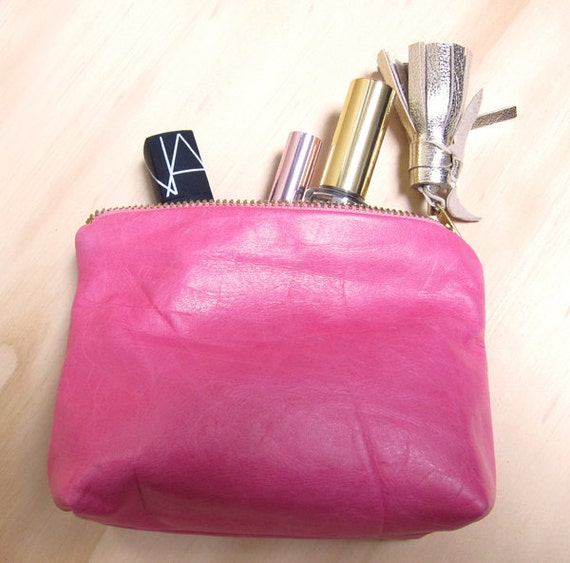 Pink Leather Clutch w/ Gold Leather Tassel