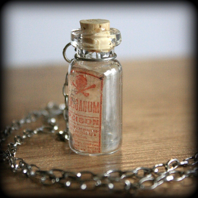 Glass Bottle Necklace Laudanum vintage pharmacy label SALE