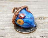 Julie Nordine . CRAG . Acorn 16 . Handmade Lampwork Glass and Electroformed Copper Acorn . Free Shipping . SRA