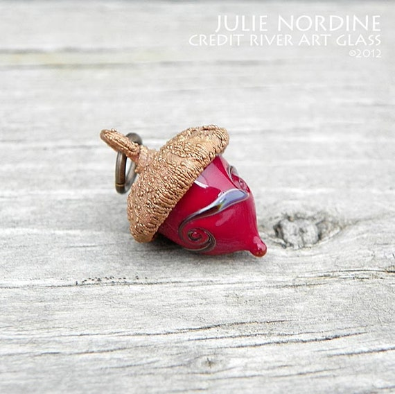 Micro Acorn 34 . Handmade Lampwork Glass and Electroformed Copper Acorn . Julie Nordine . CRAG . Free Shipping . SRA