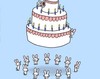 Happy Birthday Rabbit Cake Card