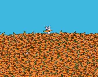 Bunny in a Sea of Carrots Card