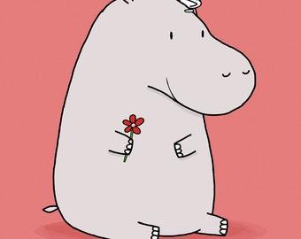 I Love My Hippo Friend Greeting Card