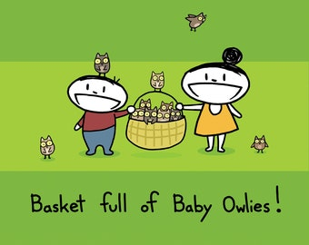 Basket Full of Baby Owlies Greeting Card