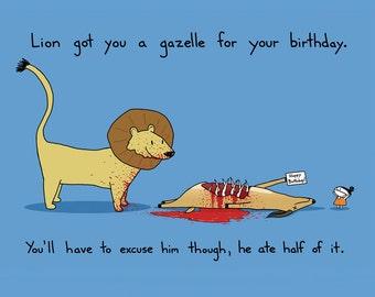 Lion's Present Birthday Card