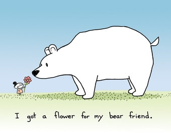 Flower for my Bear Friend Greeting Card