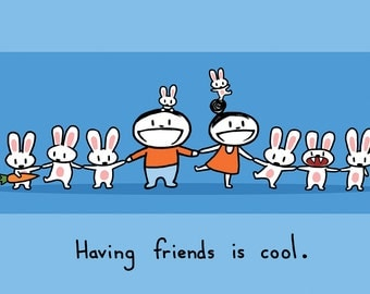 Having Friends is Cool Greeting Card