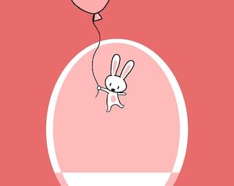 Floating Bunny Birthday Card