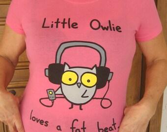 Owlie Loves a Fat Beat Womens Tshirt