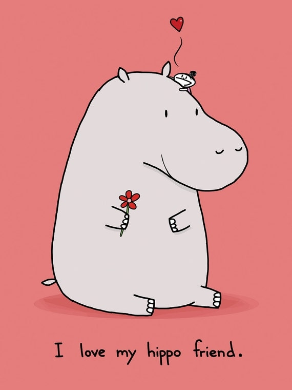 I Love My Hippo Friend Greeting Card