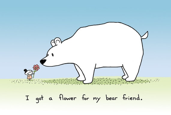Flower for my Bear Friend Greeting Card