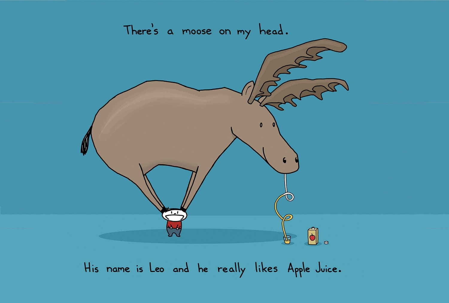 Moose On My Head Greeting Card
