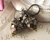 Acorn Earrings, Antique Brass, Czech Glass, Amethyst and Copper Earrings, Autumn Jewelry, Rustic Nut Earrings