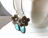 Aqua Opal Earrings, Teal Blue Glass Drops, Silver Hoops, Daisy Blue