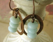 Blue Amazonite Earrings, Pastel Blue Gemstones, Copper Hoops, Blue and Brown,  Sea Mist Stacked Stones