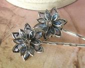 Rhinestone Wedding Hair Pins, Blue Flower Bobby Pin Set,  Bridal, Daisy, Lotus, Elegant