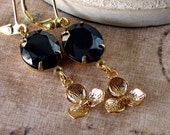 Jet Black Earrings, Gold Vintage Rhinestone Jewelry, Classic, Hollywood Glam, Holiday