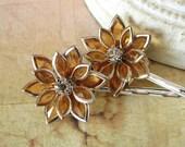 Rhinestone Hair Pins, Amber Flower Set, Autumn Daisies, Orange Lotus Flower Bobby Pins
