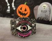 Evil Eye Jewelry, Halloween Ring, Red Czech Glass, Steampunk Ring, Evil Eye Ring, Gunmetal Band, Halloween Jewelry, Day of the Dead