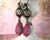 Hot Pink Teardrop Earrings, Victorian Style, Valentine Jewelry, Antiqued Brass Birdcage, Leverbacks